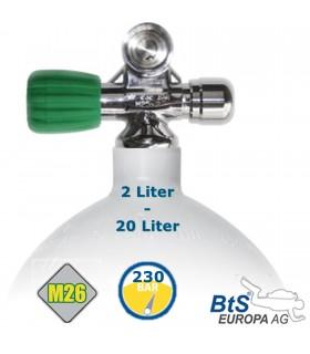Mono Stahlflasche 2 Liter - 20 Liter , 230 Bar, M26 Ventil ausbaufähig Links mit Blindstopfen