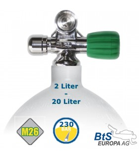 Mono Stahlflasche 2 Liter - 20 Liter , 230 Bar, M26 Ventil ausbaufähig Rechts mit Blindstopfen