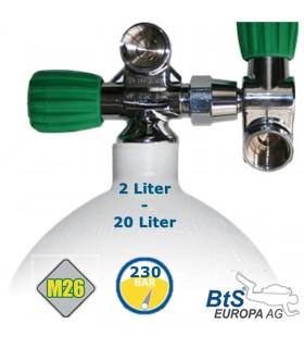 Mono Stahlflasche 5 Liter - 20 Liter , 230 Bar, EU Nitrox Ventil ausbaufähig Links mit Zweitabgang