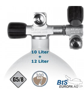 Mono Stahlflasche 10 Liter - 12 Liter , 300 Bar, Ventil Doppelventil drehbar